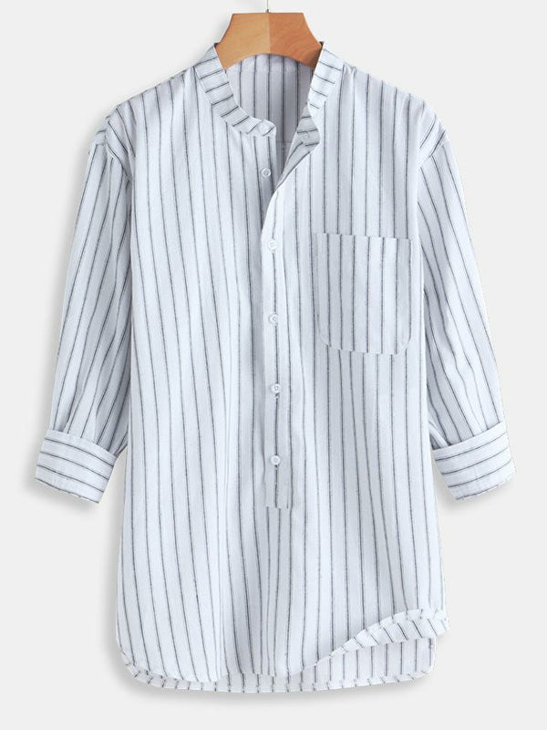 Men Half Sleeves Striped Round-Neck Shirt