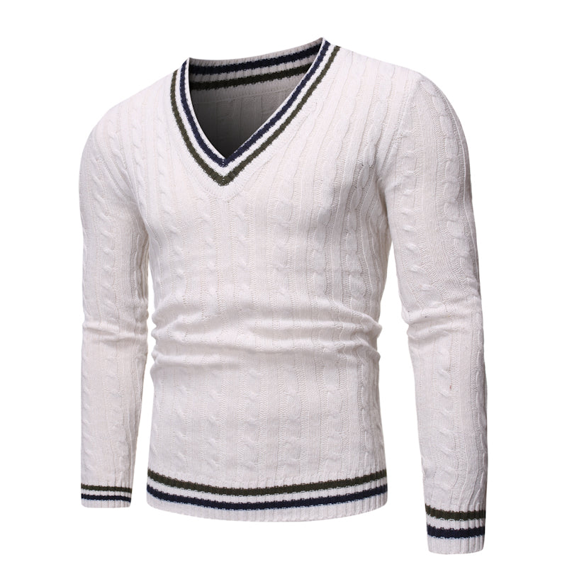Men Contrast Color V-Neck Casual Sweater