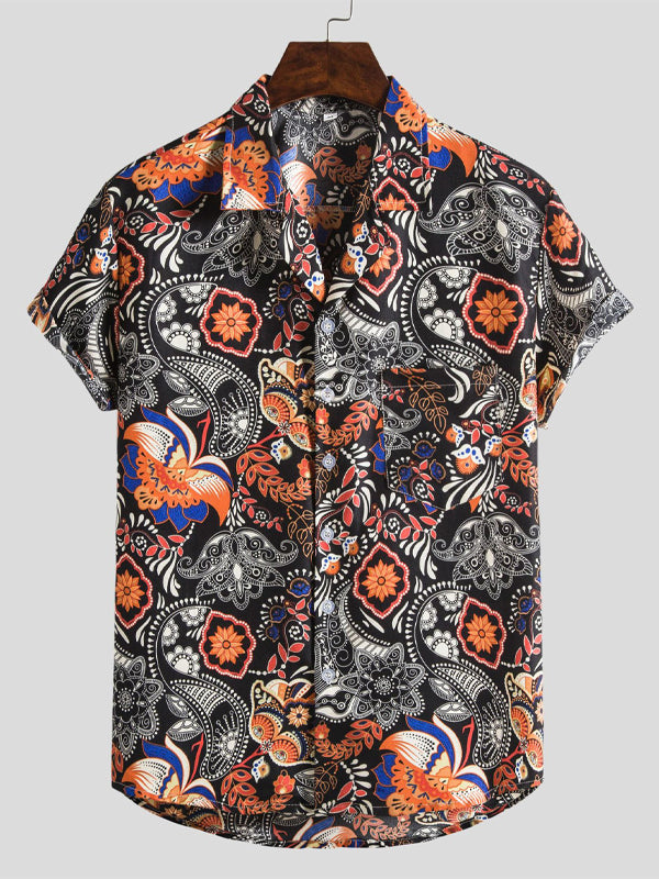 Men Floral Print Short-Sleeved Shirt