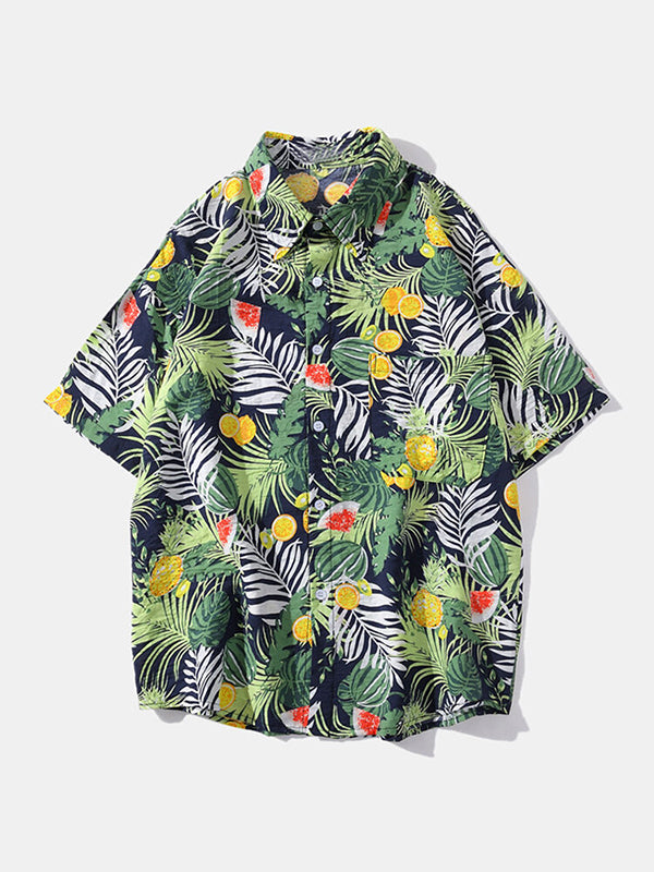 Mens Printed Casual Loose Lapel Short Sleeve Shirt