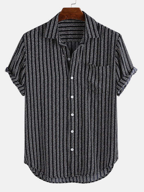 Men Striped Casual Short Sleeves Lapel Shirt
