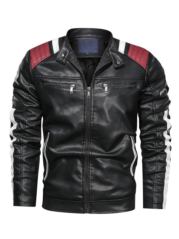 Men Colorblock Casual Stand Collar Leather Jacket
