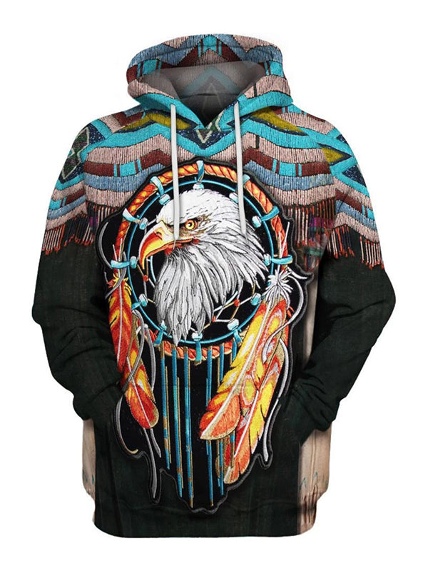 Men's Casual Printed Hooded Hoodie