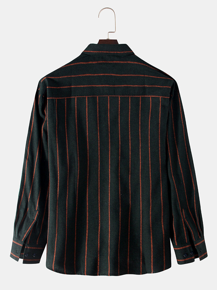 Men Plain Stripe Chest Pockets Long Sleeve Shirts
