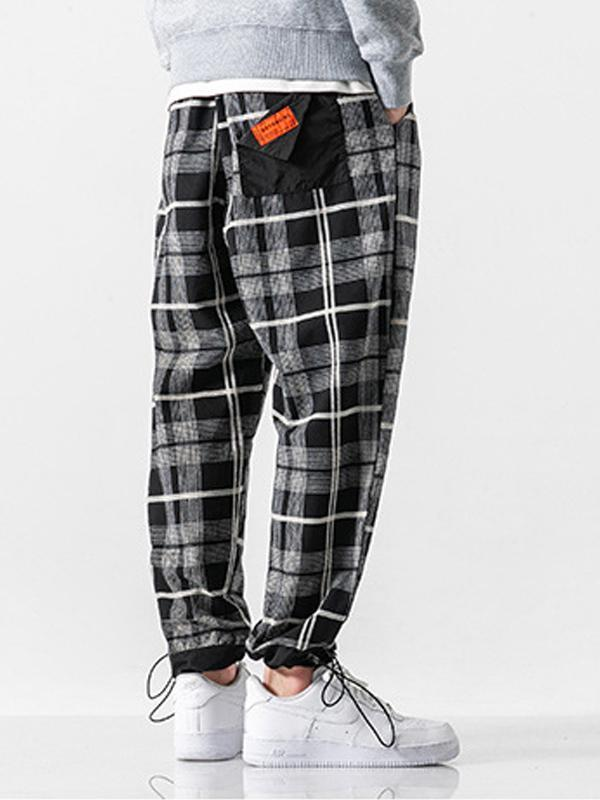 Men's Straight Leg Plaid Casual Pants