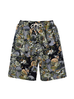 Men Straight Leg Ethnic Style Casual Shorts Swimming Trunks