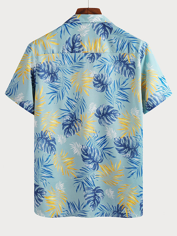 Men's Casual Floral Printed  Short Sleeve Shirt