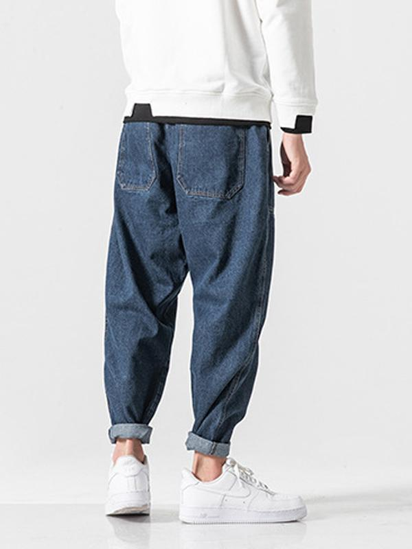 Straight Leg Denim Casual Pants