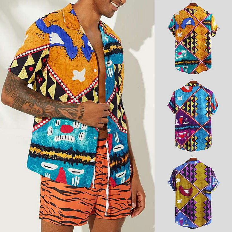 Men Beach Printed Short Sleeve Shirt