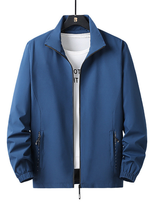 Men Stand Collar Solid Casual Jacket