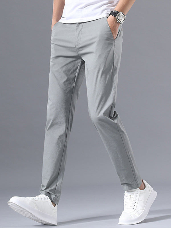 Men Solid Straight Leg Business Pant