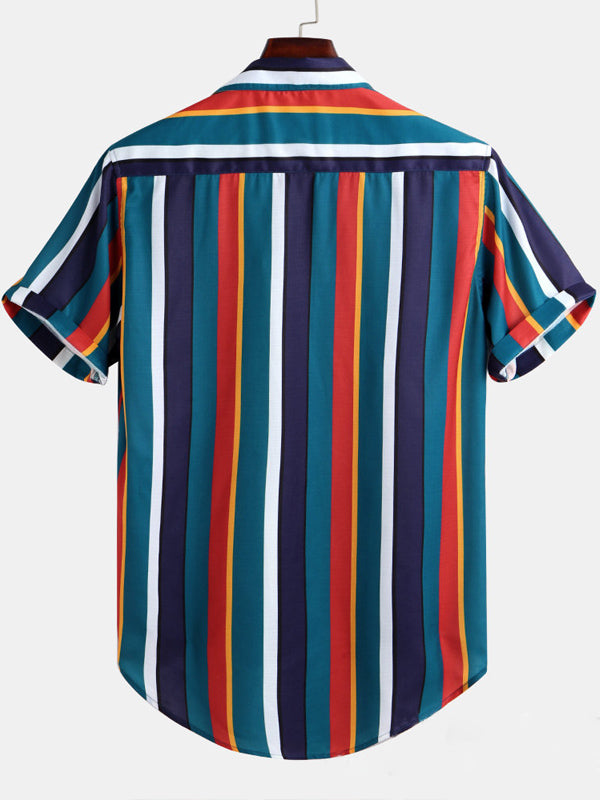 Men Colorful Vertical Stripe Short Sleeve Blouses&Shirts Tops
