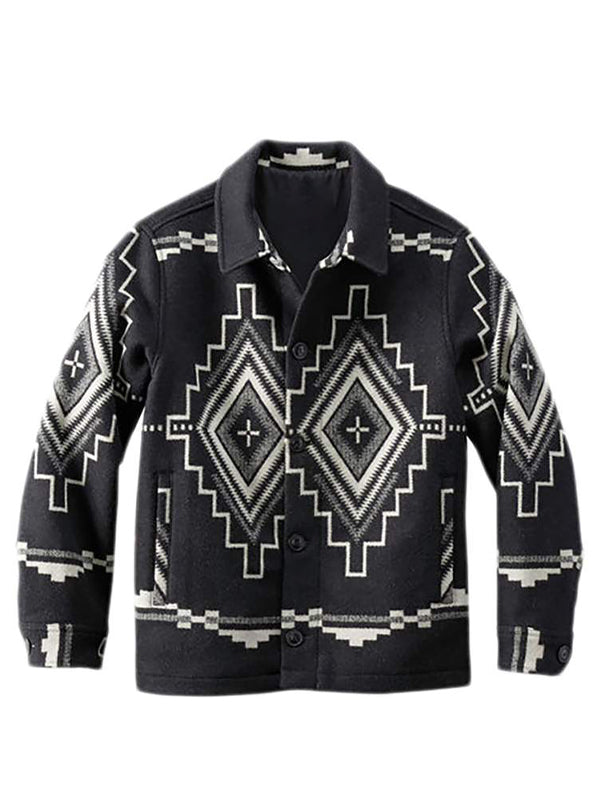 Men's Print Lapel Long Sleeve Shirt
