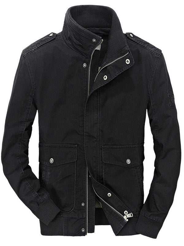 Men Stand Collar Solid Color Casual Jacket