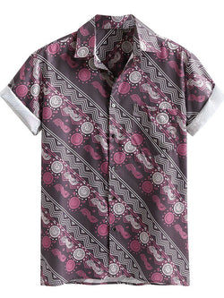 Mens Loose Printed Short Sleeves Blouses&Shirts