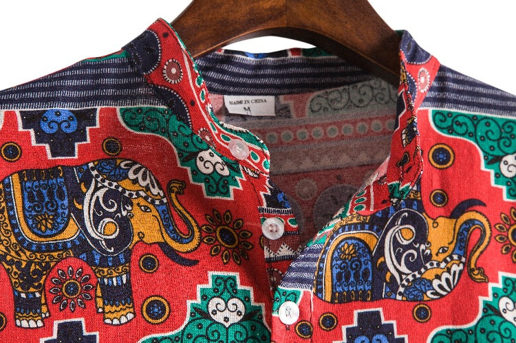 Men Short Sleeves Stand Collar Ethnic Printed Shirt