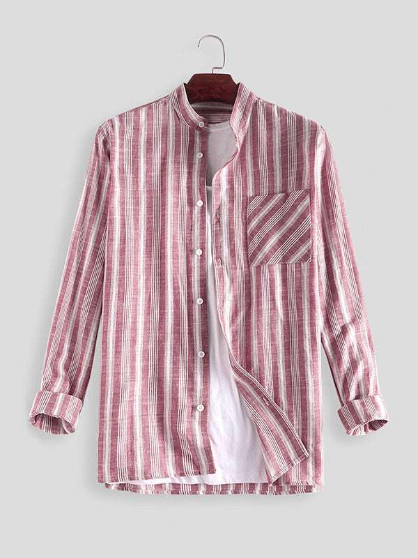 Men Striped Loose Casual Long Sleeve Shirts