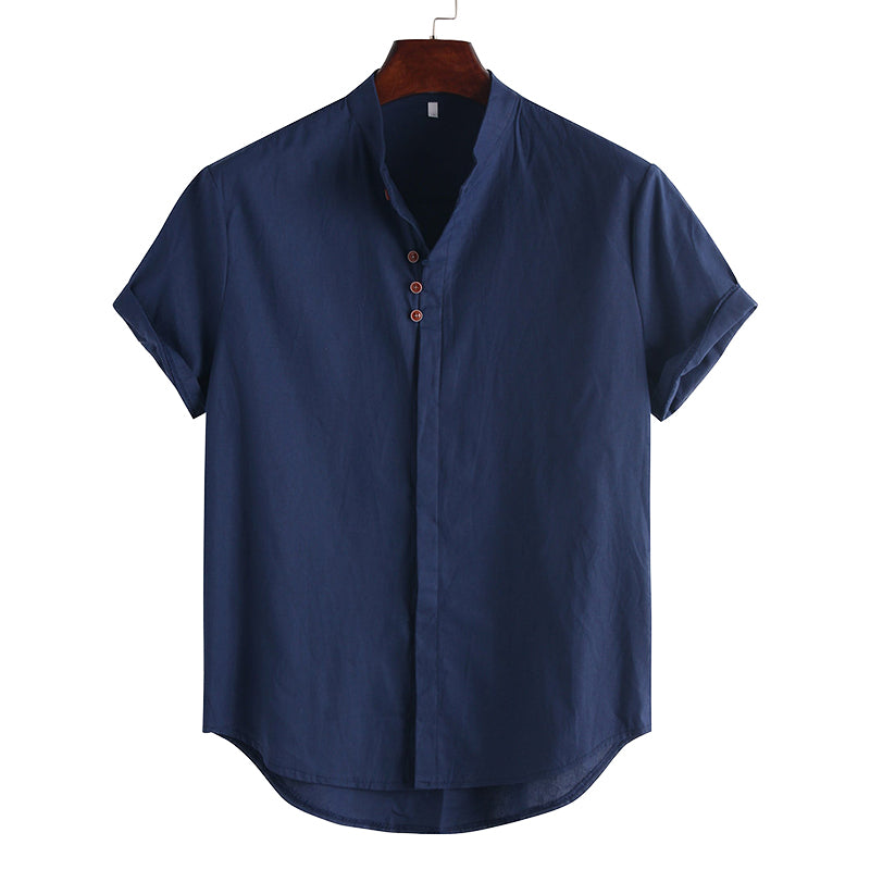 Men Solid Short Sleeeves Lapel Shirt