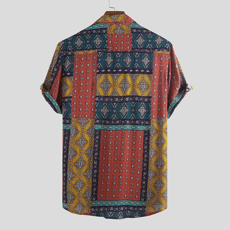 Men Printed Vintage Short Sleeves Shirt