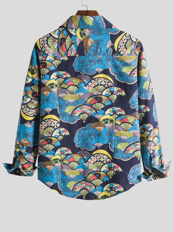 Men Abstract Printed Long Sleeve Shirt