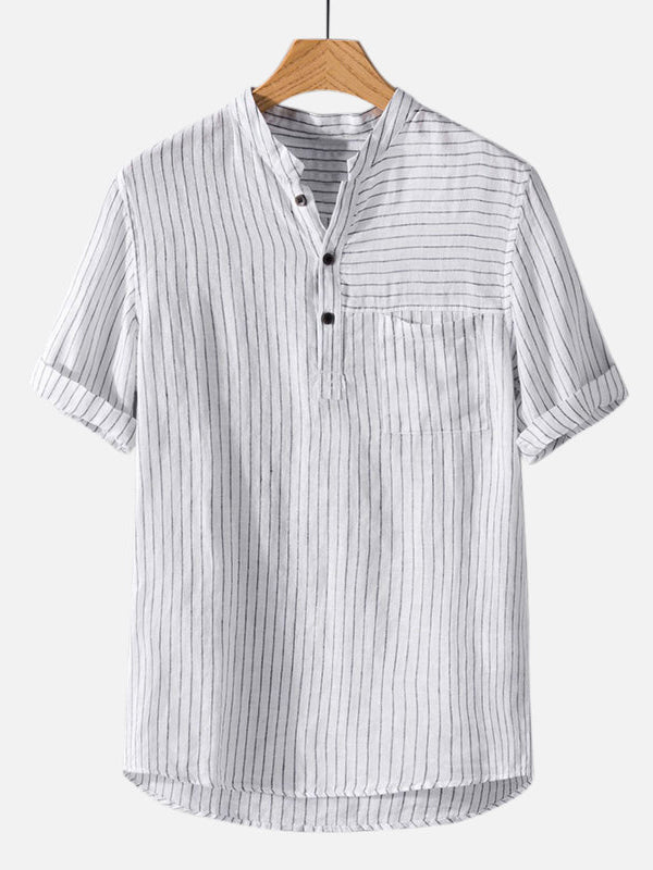 Men Striped Short Sleeves Round-Neck Shirt
