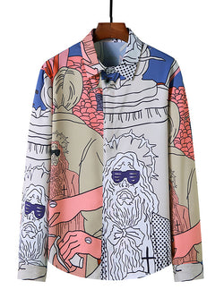 Men Casual Simple Long Sleeves Figure Abstract Printed Shirts