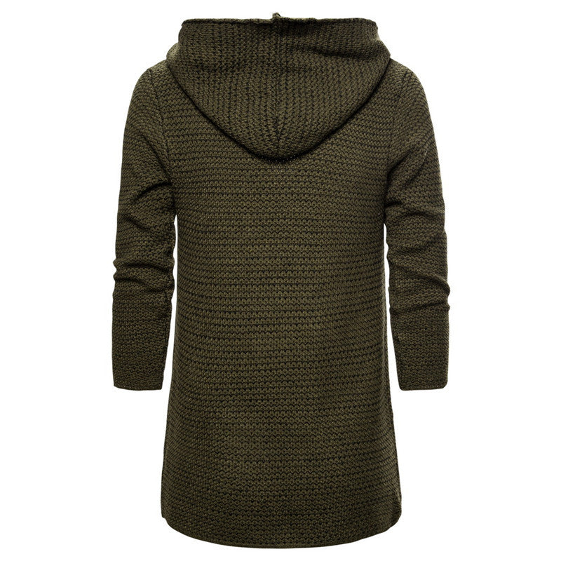 Men's Simple Cardigan Lapel Hooded Sweater