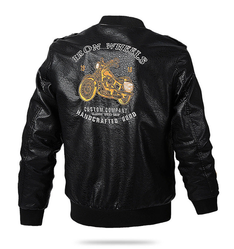 Men Slim-Fit Leisure Motorcycle Leather Jacket