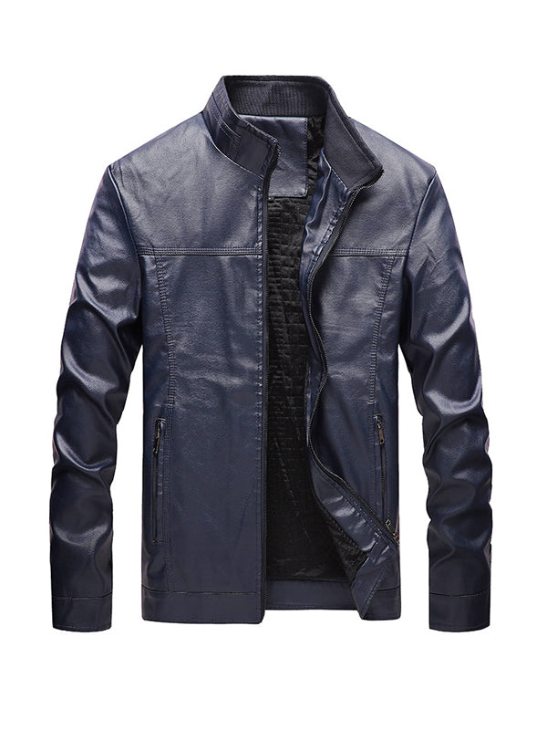 Men Stand Collar Solid Color Jacket