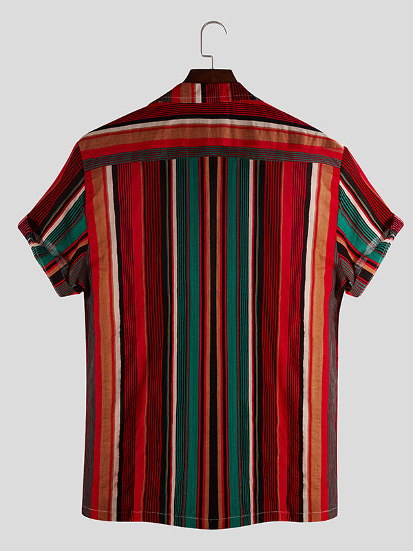Men Short Sleeves Striped Retro Shirt