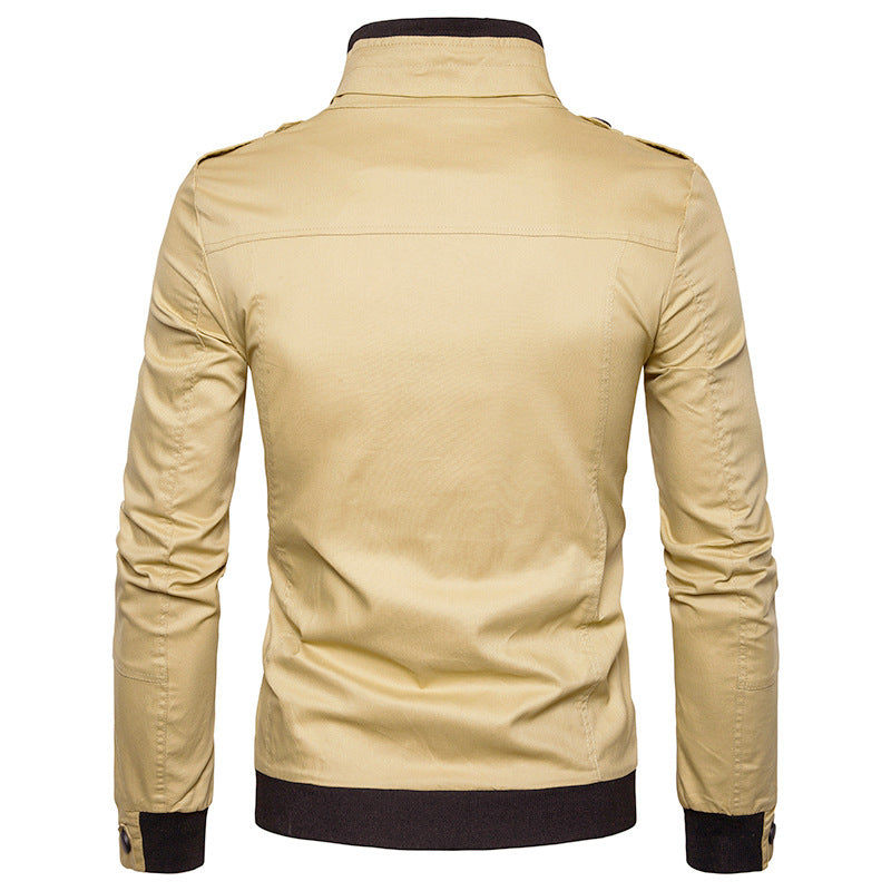 Men Stand Collar Zipper Solid Color Casual Jacket