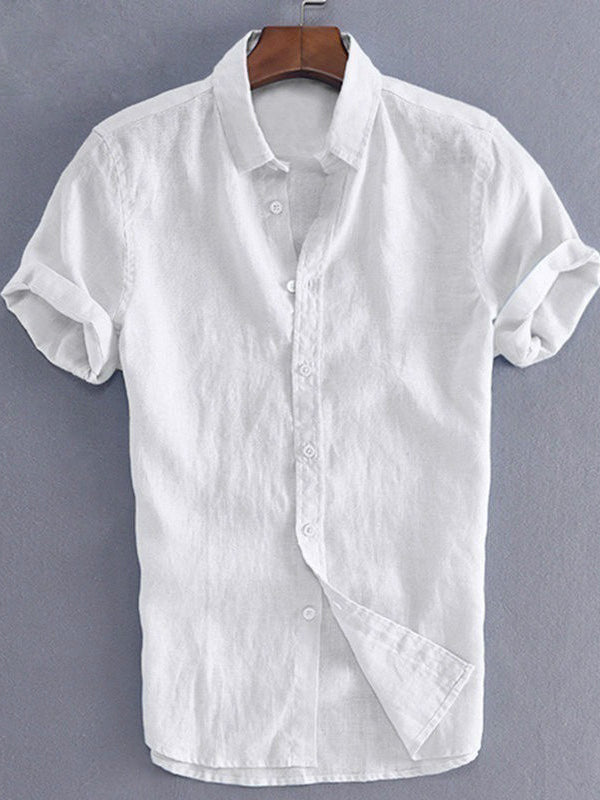 Mens Short Sleeves Simple Blouses&Shirts