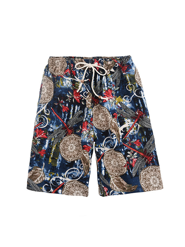 Men Ethnic Fashion Straight Leg Shorts Beach Swim Trunks