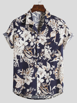 Men Casual Floral Short-Sleeved Shirt