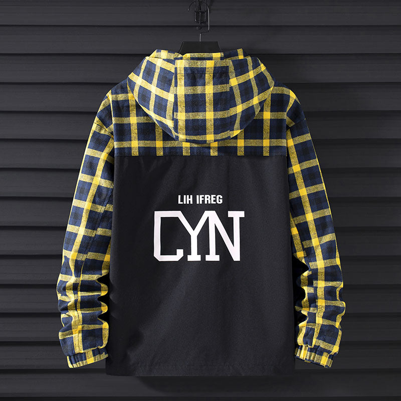 Men's Fashion Hooded Plaid Jacket