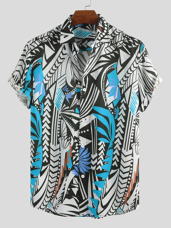 Men Printed Short Sleeves Lapel Shirt