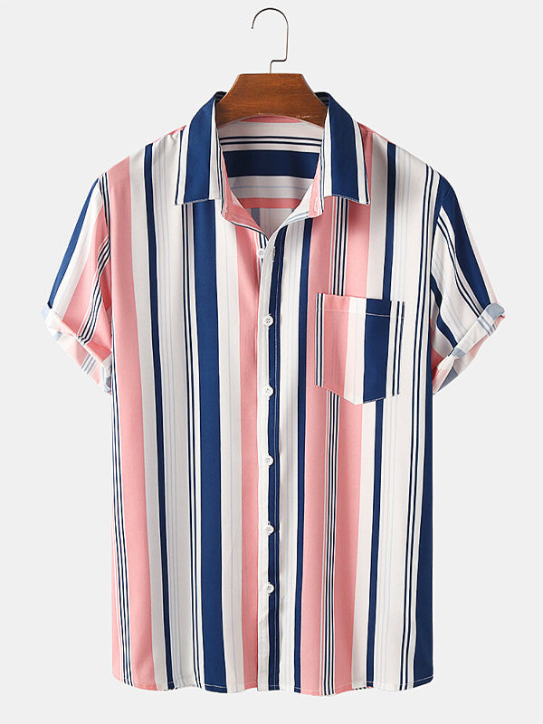 Men Short Sleeves Lapel Plain Striped Shirt