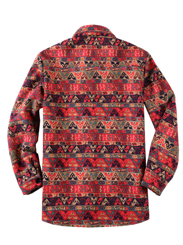 Men Casual Lapel Folk-Custom Style Printed Retro Shirt