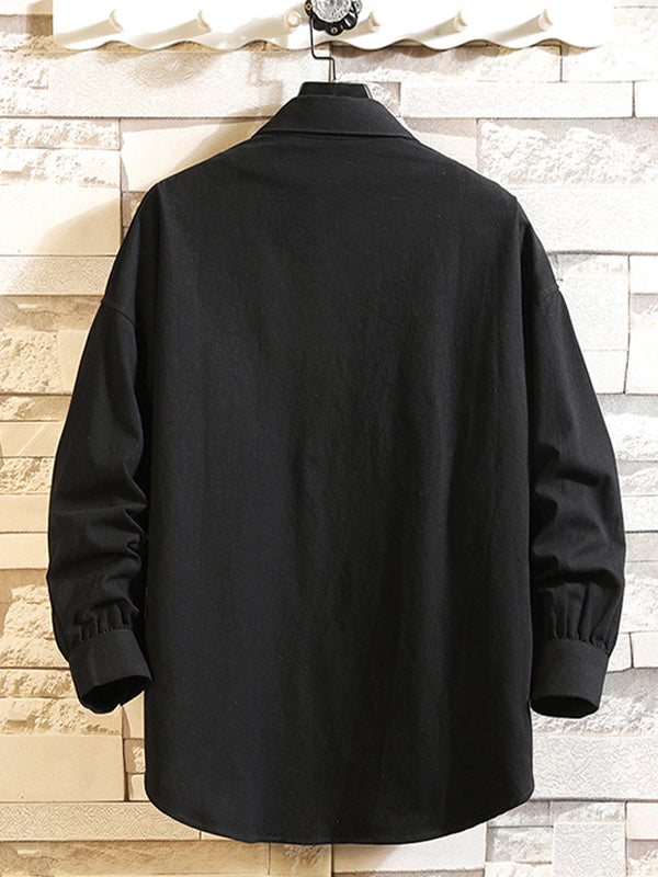 Men's Long Sleeve Solid Color Casual Shirt