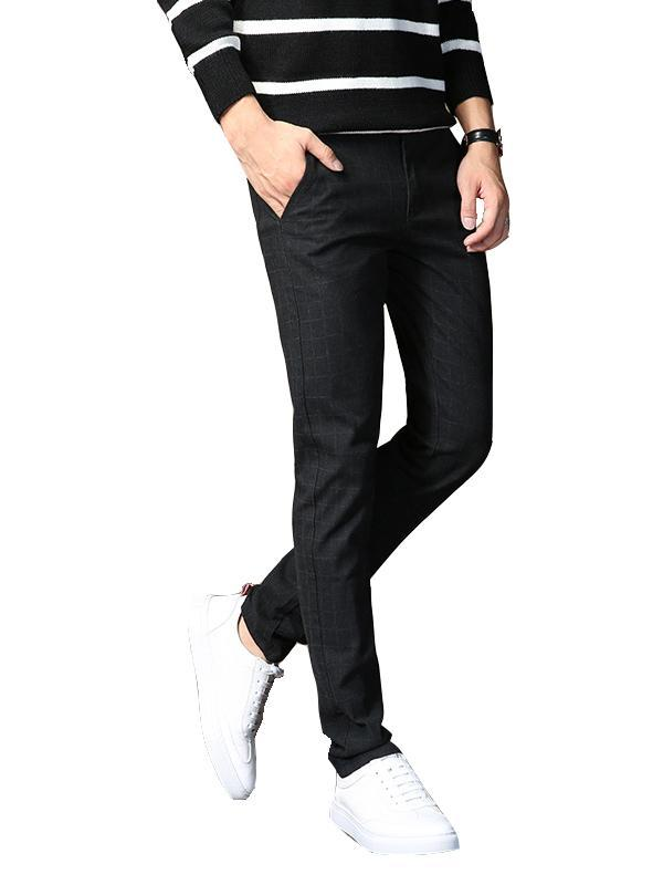 Men Trendy Plus Cashmere Strip Pant