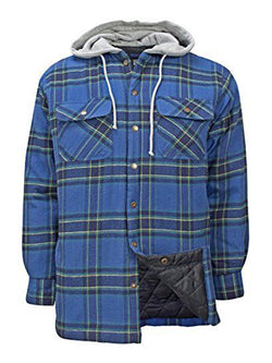 Men Hooded Plaid Casual Long Sleeve Shirt