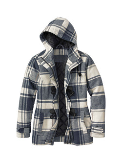 Men Colorblock Plaid Hooded Casual Shirt