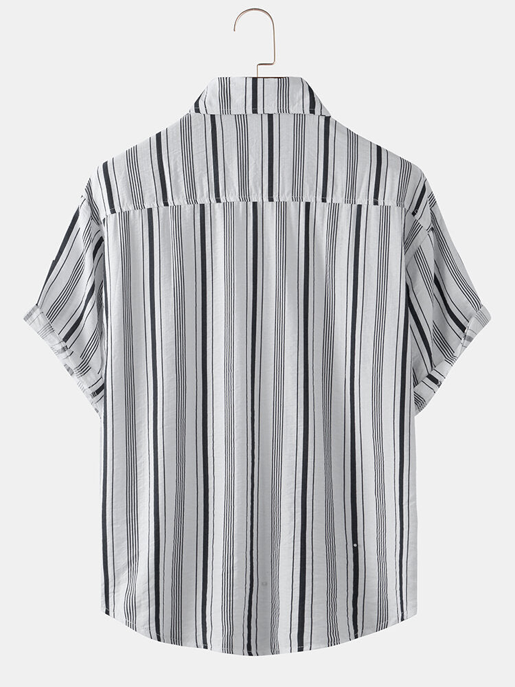 Men Striped Print Casual Breathable Short Sleeve Shirts