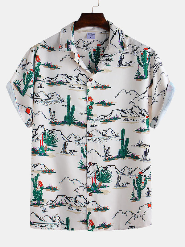 Men Cartoon Landscape Printed Short Sleeve Shirt