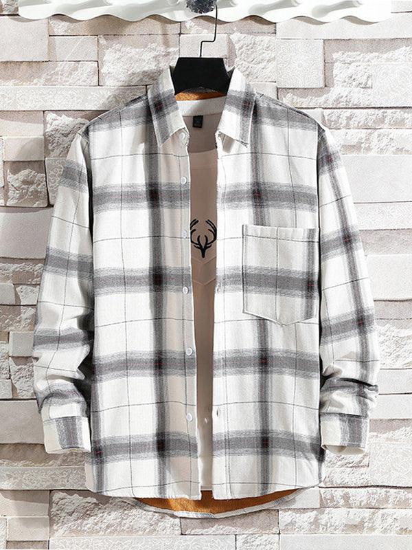 Men Thick Plaid Long Sleeves Shirt