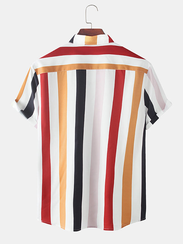 Men Holiday Colorful Vertical Stripe Short Sleeve Shirt