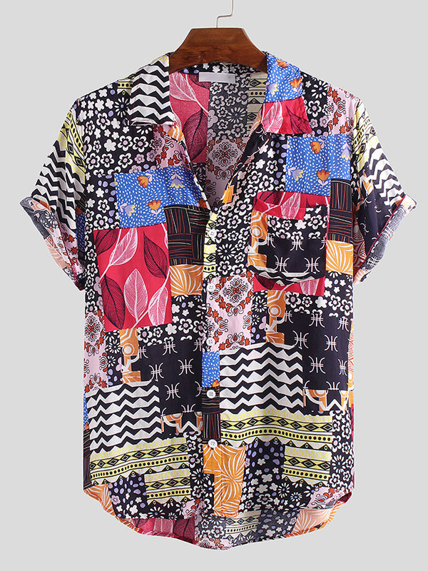 Men Summer Floral Printed Lapel Blouses&Shirts