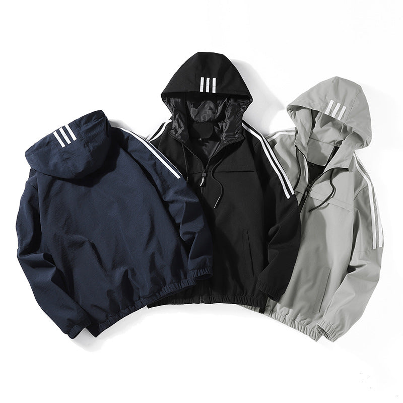 Men's Baseball Solid Color Zip Jacket