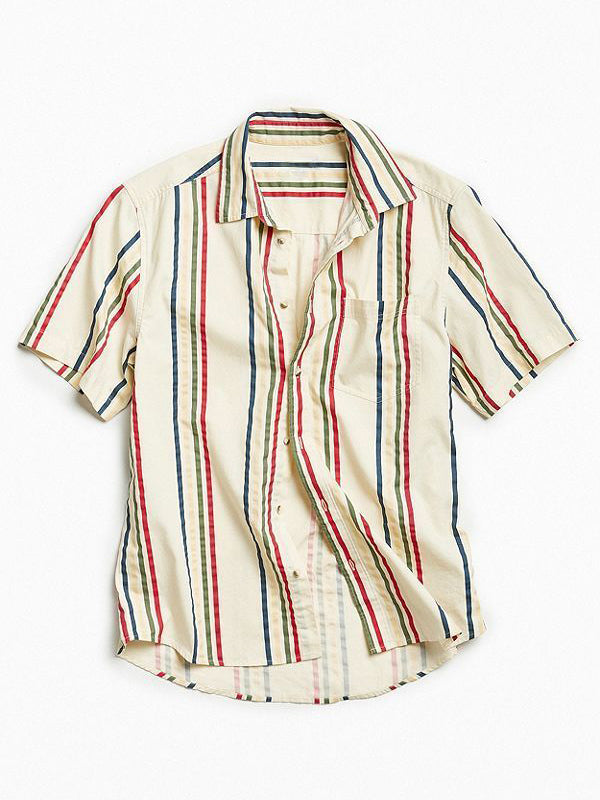 Men Casual Short Sleeeves Striped Shirt