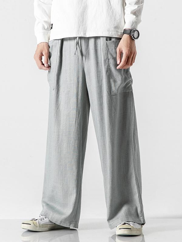 Men Casual Solid Wide Leg Casual Pants